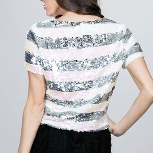 Ark & Co Sequin Box Top Striped Short Sleeve